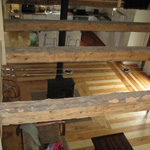 Monocoat Pure (clear) on hand hewn beams